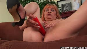 Hairy Grandma With Big Tits Has Solo Sex With A Dildo Red River.