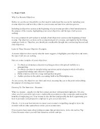 Importance Of A Resume Good Objectives To Put On A Resume