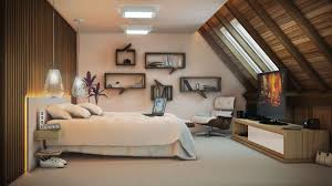 Small Attic Bedrooms Bedroom Attic Bedrooms With Floating Shelf And Flat Tv Also