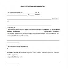 Subcontractor Contract Template Beauteous Download 44 Subcontractor Agreement Templates Free Sample Top