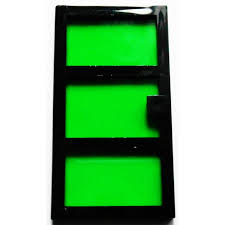 lego black door 1 x 4 x 6 with 3 panes and transpa green glass