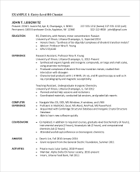 Chemical Engineer Sample Resume 9 Entry Level Chemical Engineer