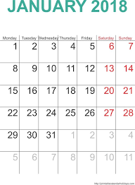 January 2018 Calendar Free January 2018 Calendar Free Calendar