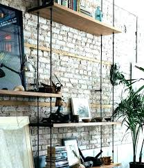 shelves on brick wall glass kids room