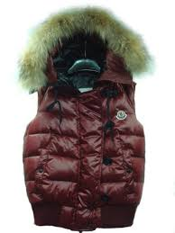 MONCLER  Tarn  quilted gilet with racoon fur trimmed hood dark red,moncler  clothing