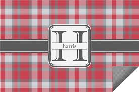 red gray plaid indoor outdoor rug personalized