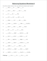 balancing chemical equations worksheet maker and printable simple problems