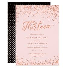 13th Party Invitations Rose Gold 13th Birthday Party Invitation Faux Foil