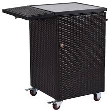 patio rattan dining storage roller trolley cart