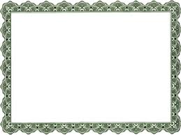 Printable Certificate Template Sample With Green Border Design And