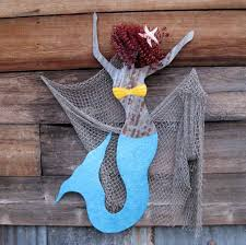 hand crafted handmade upcycled extra large metal mermaid wall art inside 2018 wooden mermaid wall art