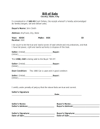 Personal Bill Of Sale For Car Personal Property Bill Of Sale Template Bill Of Purchase
