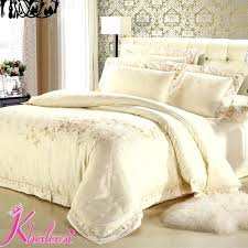 ivory duvet cover luxury satin bedding sets silver ivory white jacquard satin cotton comforter king queen