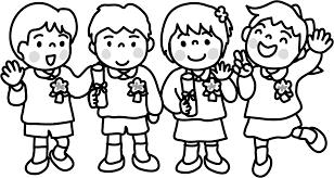 卒園式 入園式の園児のかわいいイラスト画像素材白黒 モノクロ