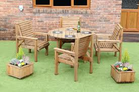 wooden garden furniture patio garden set 1 2 metre round table and 4 chairs new 1 of 2free