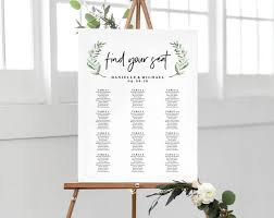 Seating Chart Wedding Sign Greenery Wedding Sign Seating Chart Sign Wedding Seating Chart Template Template Alphabetical Pdf Instant Download Bpb330_52