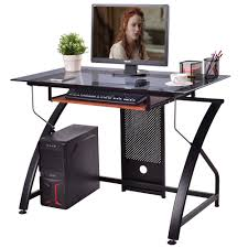 computer desk glass top pc laptop table workstation w pull out keyboard tray