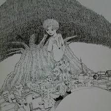 自作イラスト 手描きイラスト 気になる 木 オリジナルイラスト 絵 町 街