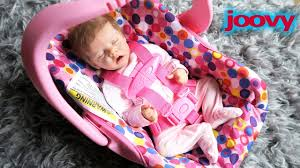 Pink Joovy Toy Car Seat Unboxing with Reborn Baby Doll Twin A Olivia ...