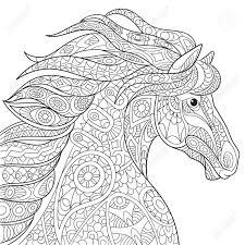 Cartoon Paard Mustang Geïsoleerd Op Een Witte Achtergrond Hand