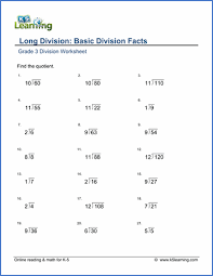 grade 3 division worksheet subtraction long ision basic ision facts