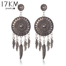 whole dangle chandelier at 3 18 get 17km 2016 dream catcher hollow out vintage leaf feather dangle earrings for women bohemia style earring indian