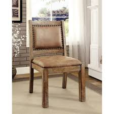furniture of america quillis faux leather dining chair set of 2