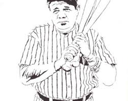 Small Picture Babe Ruth Baseball Coloring Page Sketch Coloring Page