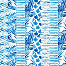 ilration watercolor textured striped seamless pattern with wave stripe squiggle fish scale ornaments tropical palm leaves abstract background in