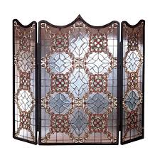 victorian beveled fireplace screen woodlanddirect com fireplace screens meyda tiffany