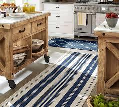 great indoor outdoor kitchen rugs oxford stripe recycled yarn indooroutdoor rug blue pottery barn