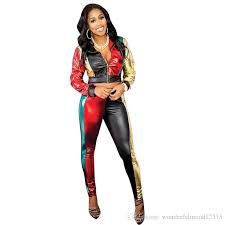 2018 contrast color pu leather outfits for women long sleeve front zipper coat top and fitness pants casual two pcs sweatsuit from wonderfulmood12315