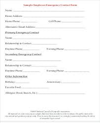 Employee Emergency Contact Form Template Employee Emergency Contact Form Personal Information Sheet