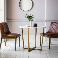 Cult Living Gatsby Round Marble Dining Table White And Gold 90cm In