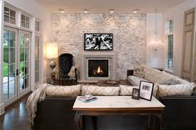 baroque painting brick fireplace fashion minneapolis terranean family room inspiration with accent wall brick fireplace surround ceiling lighting
