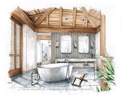 bathroom interior design sketches. Hawaii Resort Bathroom Rendering Interior Design Sketches I