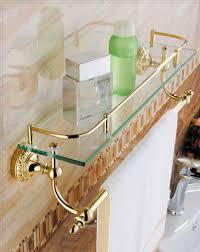 luxury bathroom towel rack with glass shelf