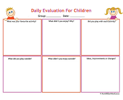 Daily Activities Template Daily Evaluation For Children Aussie Childcare Network