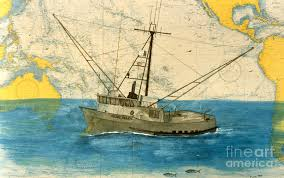 Paintings On Nautical Charts Nicole Marie Tuna Fishing Boat Cathy Peek Nautical Chart Map Art