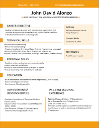 Sample Resume Format Sample Resume Format For Fresh Graduates One Page Format Sample 17