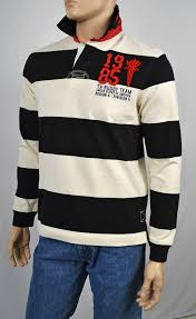 details about tommy hilfiger black white striped rugby polo shirt nwt s