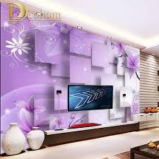 Purple Wallpaper For Bedroom Custom Photo Mural Wallpaper For Walls 3 D Purple Flower Geometric