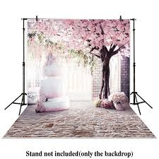 Cherry Blossom Backdrop Greendecor Polyster 5x7ft Photography Backdrop Pink Cherry Blossom Brick Wall Cake With Cherry Trees Wedding Background Props Photocall Photobooth