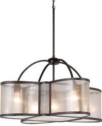 bronze chandelier sheer organza shades 5 lights 28 wx16 h