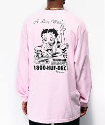 Huf X Betty Boop Livewire Pink Long Sleeve T Shirt