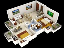 Interior Design For Two Bedroom House Photo Design Bed - 3d house interior