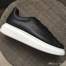 new 2018 men women black leather low top platform sneakers brand designer thick white bottom casual shoes 35 44 drop