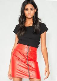 arla red faux leather front zip mini skirt