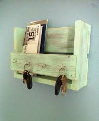 DIY Wall Mail Organizer With Key Hooks Made From Reclaimed Wood Painted  With Green Color Ideas