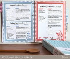 recipe book binder set retro 1950s style printable recipe pages editable pdf instant